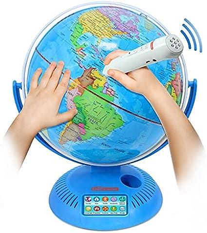 Globe terrestre pivotant et inclinable sur support avec base en plastique pour enfants Enseignement g/éographique /éducatif 10,6 cm