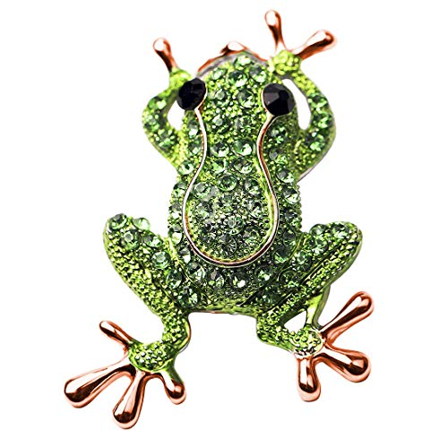 HOLLP Frog Rhinestone Brooch Pins for Women Girls Natural Insect Animal Lovely Pins Frog Lover Gift (Rose Gold)