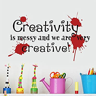 Playroom Wall Decal Teacher Gift Creativity Is Messy and We Are Very Creative Wall Quote For Drawing Room Removable Wall Stickers