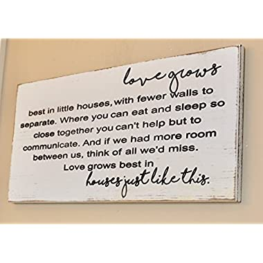 WOOD DECOR Love grows best in little houses sign made of wood, Engraved wood sign