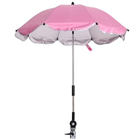 Domybest Paraguas Cochecitos bebé Ajustable 360 grados de Dirección para Silla de Paseo, Color Rosa