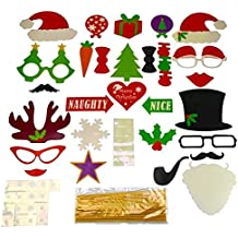 Christmas Photo Booth Props 28 Pics Kit on a Stick for Party Supplies with Glasses Moustache Red Lips Deer Horn Santa Hat