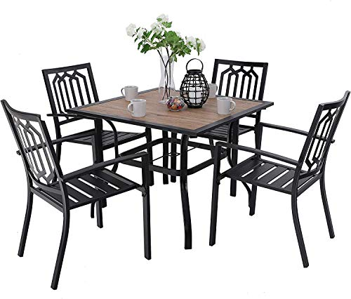 MFSTUDIO Metal Patio Dining Sets Club Bistro Bar Sets 4 Piece Metal Dining Chairs with 2.7″ Thick Cushions and Larger Square Table Furniture Set, Steel Frame, Set of 5