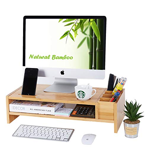 2-Tier Bamboo Monitor Stand   Wood Desk Organizers and Accessories   Laptop Computer Monitor Riser with Adjustable Storage Accessories