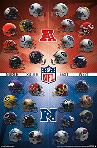NFL HELMET LOGOS POSTER Amazing Collage RARE HOT NEW 22x34