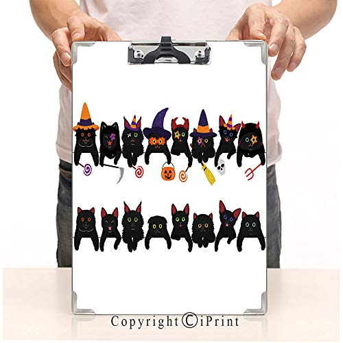Print Clipboards Office Document,Clipboards Low Profile Clip,Writing Board,Paper Clip,Cute Black Kitties Border Set with Halloween Costumes -
