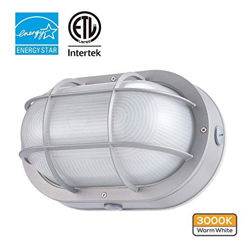 Lighting Large Bulkhead Aluminum Round (LEONLITE LED Marine Oval Bulkhead Light, 20W (120W Equivalent), Energy Star, 3000K Warm White Outdoor Wall Light, 5 Years Warranty)