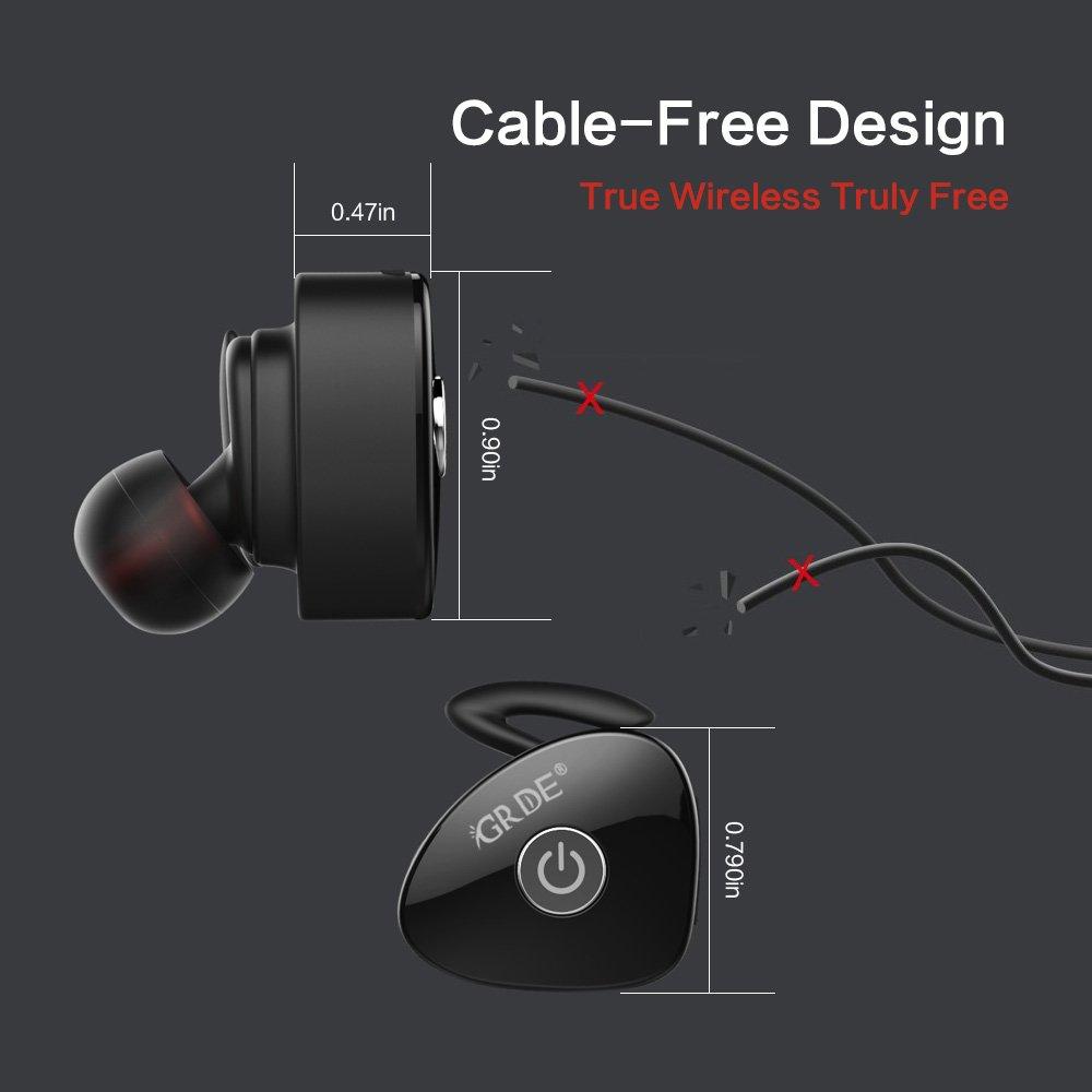 GRDE Bluetooth Earbuds, True Wireless Stereo Earphones Noise Isolation Mini Sweatproof Sports Headphones with Mic Dual In-ear Buds Headset (Black)