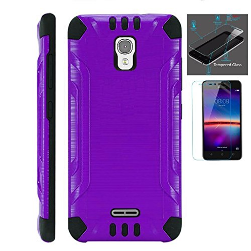 for-alcatel-pixi-theatre-case-tempered-glass-screen-protector-slim-dual-layer-brushed-texture-armor-