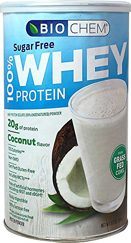 Country Life - Biochem Sugar - 100% WHEY Protein - COCONUT - Sugar Free - 20g of Protein(11.2 Ounce)