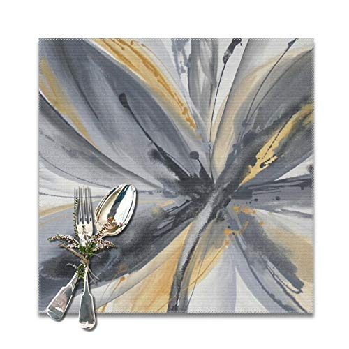 SRuhqu Heat Resistant Placemats Set Of 6 - Abstract Flower Yellow Grey Kitchen Placemats For Dining Table 12x12 Inches ()