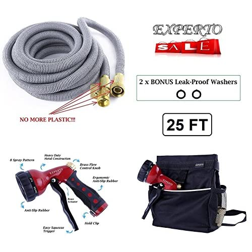 (25ft, Silver) Expandable Garden Hose 3 in 1 KIT - Expanding Hose + Heavy Duty 8 Pattern Metal Watering Nozzle Spray Front Trigger + Hose Storage Bag for sale