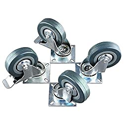 MVPower 4 Pack 3 Inch Swivel Caster Wheels Dust Cover Rubber Heavy Duty Castors with 360 Degree Top Plate(3 inch with brake,Gray)
