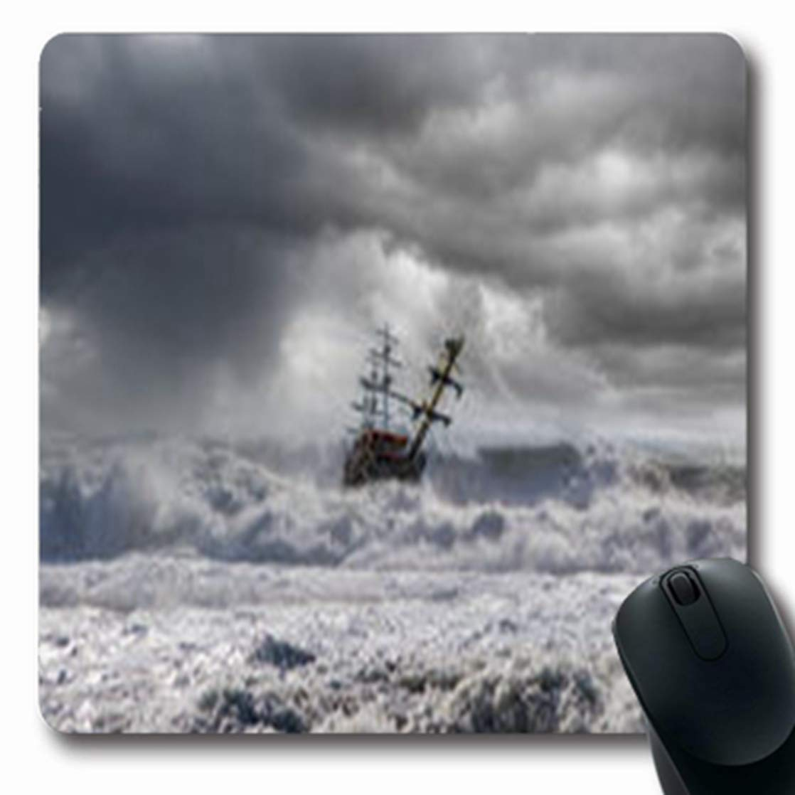 Pandarllin マウスパッド 波 太陽 海 自然 日の出 エアパーク アウトドア 夏 楕円形 7.9 x 9.5インチ 長方形 ゲーム用マウスパッド 滑り止めゴムマット 7.9