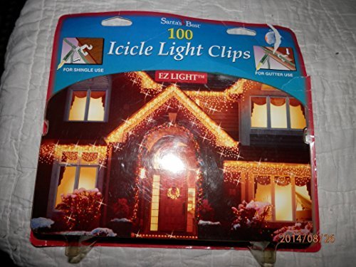 Christmas Icicle Light Clips Shingle Light Clips Gutter Hooks 100 Clips in Pkg by Santa's Best