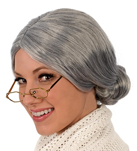 Kangaroo's Old Lady / Mrs. Santa Wig; Gray (Old Lady Costume For Toddler)