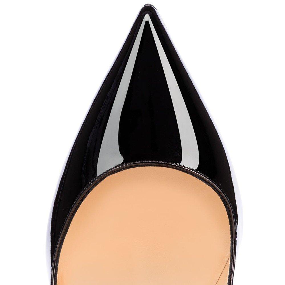 Eldof Women Low Heels Pumps   Pointed Toe Slingback Flat Pumps   2cm Classic Elegante Court Shoes B07C2NM4FJ 10.5 B(M) US Patent Black