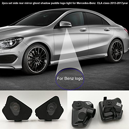 iew mirror courtesy projector ghost shadow puddle logo light compatible for Mercedes-Benz CLA Class 2013-2017year Mercedes benz accessories no fading color plug and play-JT-CLA ()