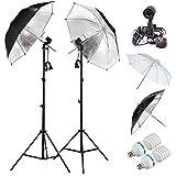 A New Fotoaccesorios engranajes mesen Profesional Fit E27 Socket Umbrella Holder Luz continua Montaje Stands 2x85w E27 5500K fotografia Light Studio Kit de soporte Paraguas 32