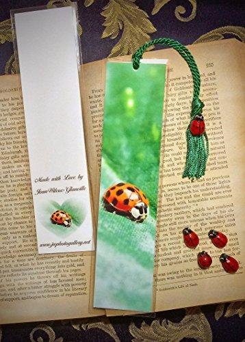 Cute Ladybug Critter Bookmark w/Glass Lampwork Lady Bug Bead Charm Spring Fine Art Photography Photo Laminated Handmade Bookmark