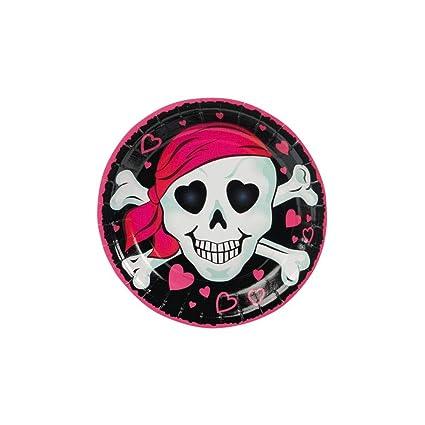 Amazon.com: Rosa platos de postre de chica pirata – fiesta ...