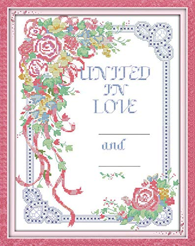 Joy Sunday Cross Stitch Kits,Flower Style,Wedding Vows,11CT Stamped, 42cm×52cm or 16.38