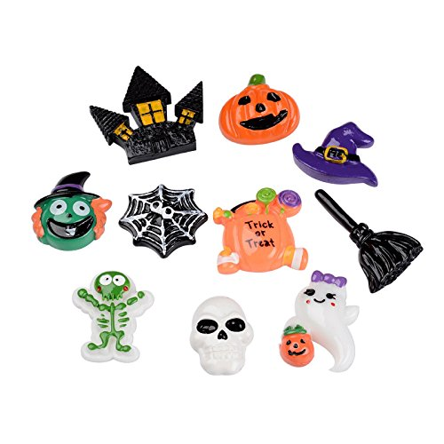 Pandahall 10 PCS Halloween Theme Resin Cabochons for Craft Making, Pumpkin Jack-o'-lantern, Witch Hat, Skull, Witch Besom, Skeleton, Ghost, Castle, Spider Web, Witch Head]()