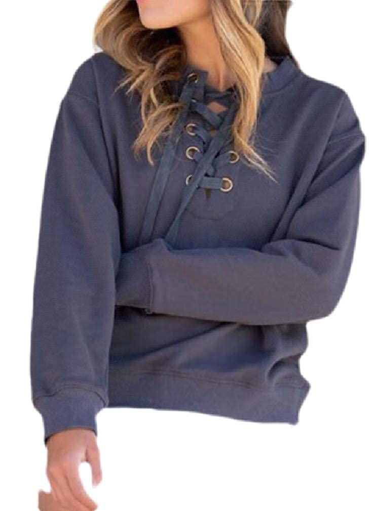 Easonp Womens Long Sleeve Solid Lace Up Cross Pullover Sweatshirt