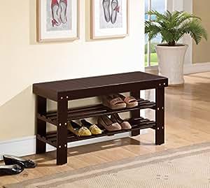 Amazon Com Espresso Finish Solid Wood Storage Shoe Bench