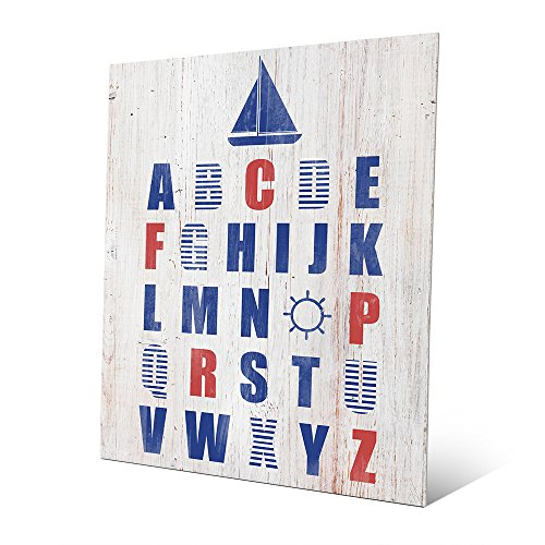 Nautical Alphabet with Patriotic Red White Blue Stripes