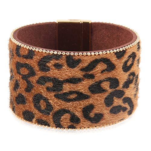 RIAH FASHION Bohemian Faux Suede Leather Wrap Multi Layer Bracelet - Boho Wrist Adjustable Cuff Bangle Crystal Rhinestone/Metallic Bead/Natural Stone Embellishment (Wide Leopard - Brown)