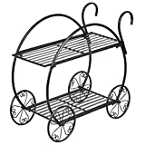 Metal Flower Cart Pot Rack Plant Display Stand Holder Decor