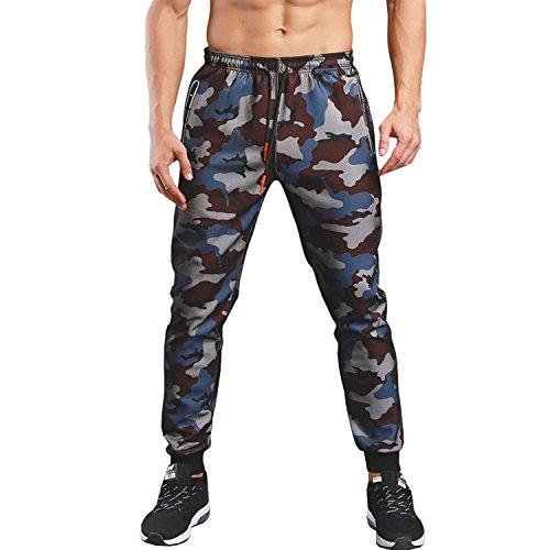Track Cotton - KaiDi Men's Slim Fit Drawstring Classic Camo Joggers Pants Zipper Pockets (Blue, L)
