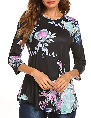 Tobrief Women's Floral 3/4 Sleeve Tops Scoop Neck Fall Tunic Blouse (Black, S) (Scoop 3/4 Neck Top Sleeve)