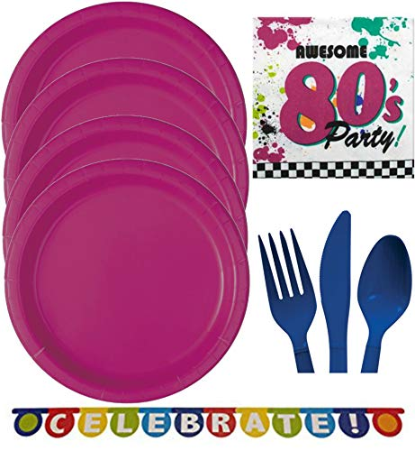 80s Party Supplies for 16 Guests - Halloween, Birthday - Plates, Napkins, Cutlery, Idea Activity Page Party Pack -