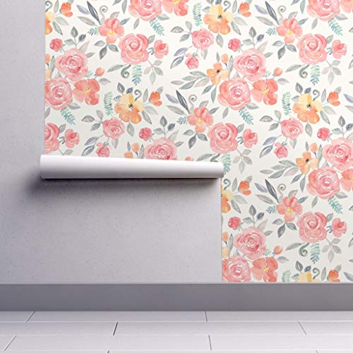 Peel-and-Stick Removable Wallpaper - Watercolor Floral Watercolor Floral Bouquet Roses Flowers Apparel by Micklyn - 12in x 24in Woven Textured Peel-and-Stick Removable Wallpaper Test Swatch