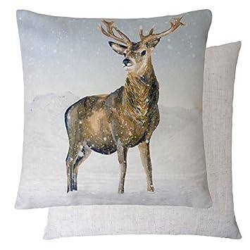 eeac02e4393 Evans Lichfield Winter Christmas Snow Reindeer STAG Linen Chenille White  Cream Throw Pillow Scatter Cushion Cover SHAM 17