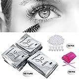 3x100 Packs- Under Eye Pads Lint Free Lash Extension Eye Gel Patches & Eyelash Mascara Brushes Wands Applicator Makeup Brush & Tattoo Glue Rings Holder Eyelash Extension Rings