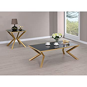Coaster 705188-CO Glass Top Coffee Table, Brushed Brass