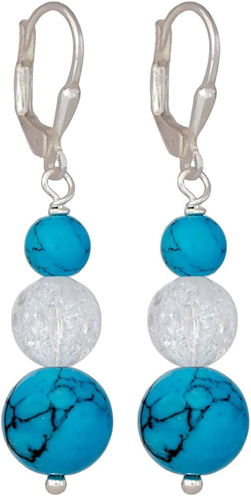 I de Be, turquesa cristal de roca piedras preciosas pendientes 925Longitud de plata, 4,3cm, en estuche de regalo, 38117411081174b