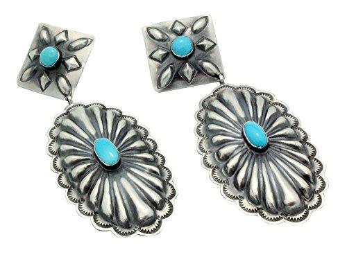 Rita Lee, Earrings, Dangles, Oval Concho, Turquoise, Navajo Handmade, 4 ()