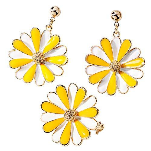 (goddess of wisdom Daisy/Sakura/Snowflake Flower Crystal Pendant Earrings Small Daisy Brooch Sweater Button Set for Women and Girls)