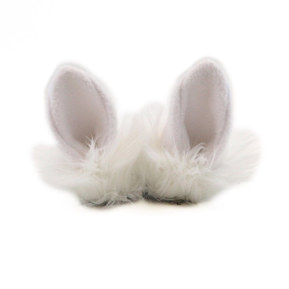Pawstar Clip In Furry Bunny Ears Hair Clips On - Arctic White