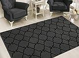 Sweet Home Stores Clifton Collection Dark Grey Moroccan Trellis Design (5' X 7') Area Rug