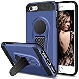 5s bumper navy - iPhone SE Case, iPhone 5S Case, Vofolen Kickstand iPhone 5S Case Holder Stand Protective Armor Hybrid Hard Shell Dual layer Shockproof Bumper Cover Fits Magnetic Car Mount for iPhone SE 5S 5 (Navy)