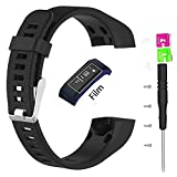 Only For Garmin Vivosmart HR+ Bands, Replacement Silicon Wristband Strap Accessory for Garmin vívosmart HR Plus HR+ HR Band + with Tool and Screw (No Tracker, Replacement Bands Only) (Black)