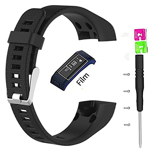 Only For Garmin Vivosmart HR+ Bands, Replacement Silicon Wristband Strap Accessory for Garmin vívosmart HR Plus HR+ HR Band + with Tool and Screw (No Tracker, Replacement Bands Only) (Black) by JIARUILA