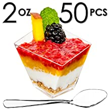 DLux™ Mini Dessert Cups, Funky Appetizer Bowls with Mini Spoons and Recipe e-Book [Clear Plastic, 2 oz, Asymmetrical Short, 50 Count] Small Catering Supplies, Disposable Parfait Tasting Tumbler Glasses