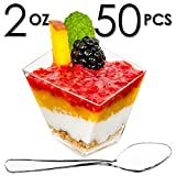 Mini Dessert Cups, Funky Appetizer Bowls with Mini Spoons and Recipe e-Book [Clear Plastic, 2 oz, Asymmetrical Short, 50 Count] Small Catering Supplies, Disposable Parfait Tasting Tumbler Glasses