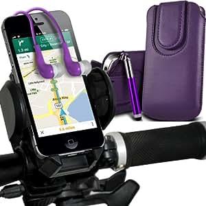 LG G2 Mini premium protección PU botón magnético ficha de extracción Slip Cord En bolsa de la cubierta de piel de bolsillo rápido con lápiz óptico retráctil, Jack de 3,5 mm Auriculares Auriculares Auriculares y universal de bicicletas Bike Mount Soporte ajustable de soporte Base del manillar de soporte 360 ??grados de rotación púrpura oscuro por Spyrox